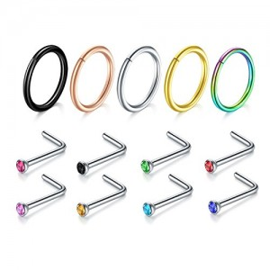 Vcmart Nose Studs Ring,5PCS-17PCS 18G 316L Surgical Stainless Steel Body Jewelry Piercing L Shaped Ring
