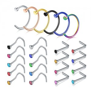Vcmart Nose Stud Ring, 14PCS-24PCS 20G 316L Stainless Steel Body Jewelry Piercing Nose Rings Studs