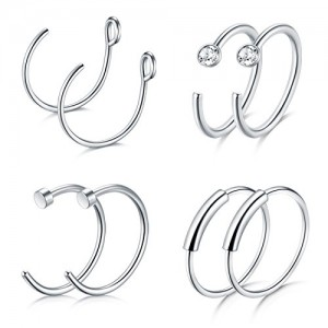 Vcmart 20G Cartilage Earring Hoop Nose rings Septum Ring Tiny Body Piercing Jewelry 8Pcs