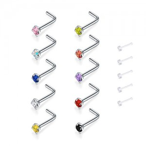 Vcmart L shape Nose Stud Nose Pin Bar Curved Diamond 20 Guage 7mm Piercing Jewellery 10PCS