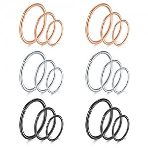Vcmart Nose Hoop Ring, 18G 8mm 10mm 12mm Nose Septum Ear Tragus Cartilage Ring Piercing Jewelry