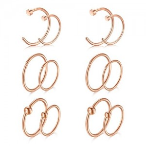 Vcmart Nose Rings Hoop, 18G 8mm 10mm 12mm Nose Septum Earring Hoops for Body Piercing Jewelry by