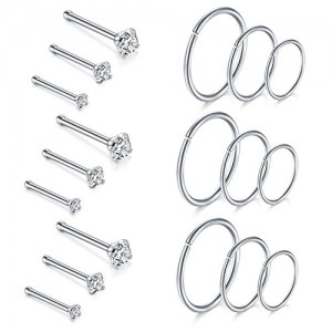 Vcmart 20G Nose Rings and Nose Studs Kit Stainless Steel Lip Ring Ear Cartilage Piercing Hoop 18pcs