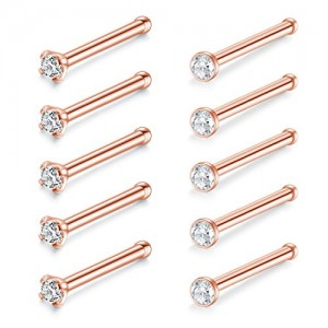 Vcmart 20G Nose Rings Studs Stainless Steel Straight Nose Studs 2mm Clear CZ Bone Pin Nose Piercing Jewelry