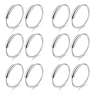 Vcmart 18G Nose Rings Hoop Stainless Steel Nose Rings Studs Screw Clear Nose Rings Retainer Piercing Tragus Cartilage Helix Earrings Piercing Hoop Jewelry 32pcs