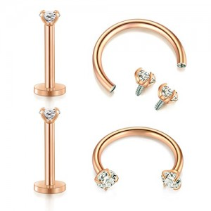 Vcmart Cartilage Tragus Helix Earring 16G Surgical Steel Internally Threaded Labret Lip Rings