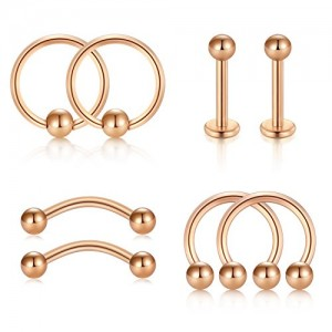 Vcmart 8pcs 16G Cartilage Tragus Helix Rook Daith Earrings Nose Septum Rings Hoop Nipple Tongue Rings Piercing Set
