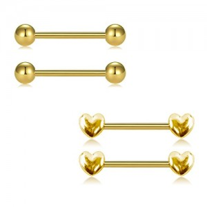 Vcmart 316L Stainless Steel Nipple Rings Nipplerings Piercing for Women 14G Heart Design Barbell and Shiny Metal Ball Piercing Bar Cute and Lovely