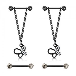 Vcmart Nipplerings Piercing Barbells 316L Stainless Steel Body Jewelry 14G Pendant Nipple Rings Piercing for Women Jewelry