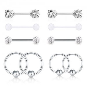 Vcmart Nipple Rings Elegant CZ Stone Nipple Barbell Piercing 316L Stainless Steel 14G Nipple Bar Ball Closure Ring Body Piercing Jewelry