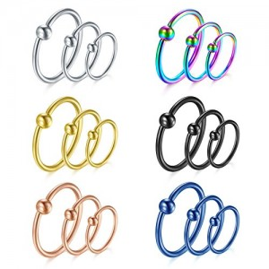 Vcmart Cartilage Earring Hoop, 18pcs 16G Nose Hoop Lip Eyebrow Tongue Helix Tragus Cartilage Septum Piercing