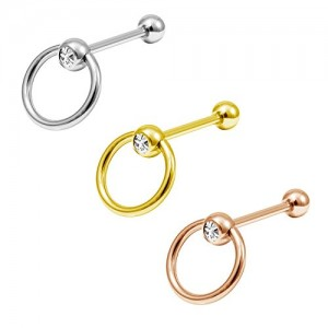 Vcmart Door Knocker Surgical Steel Straight Barbell Tongue Ring Piercing Captive Bead Ring Barbell