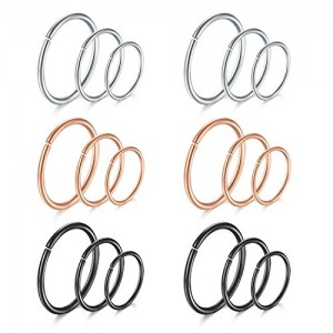Vcmart 20G Fake Nose Rings Cartilage Earrings Hoop Stainless Steel Non Pierced Closure Round Ring Lip Ear 18pcs