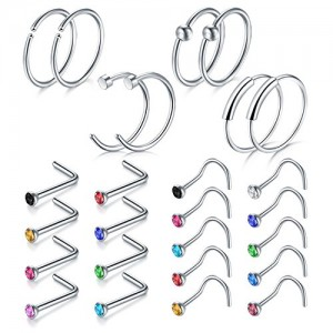 Vcmart Nose Rings, 26PCS 20G 316L Surgical Stainless Steel Body Jewelry Piercing Nose Ring Studs