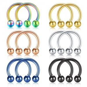 Vcmart Nose Septum Rings Hoop Horseshoe Circular Barbell Lip Ring Helix Cartilage Tragus Earring 316L Surgical Steel 16G 3/8'(10mm) 5/16'(8mm)