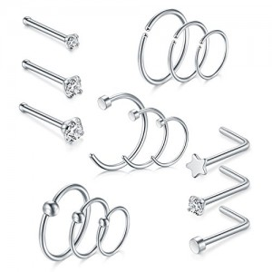 Vcmart Nose Rings Hoop-20G 8mm 10mm 12mm Helix Cartilage Tragus Earrings Nose Rings Studs Piercing 1.5mm 2mm 2.5mm