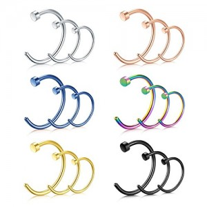 Vcmart Fake Nose Rings-16G 8mm 10mm 12mm Faux Nose Ring Hoop 316L Surgical Steel Nose Piercing