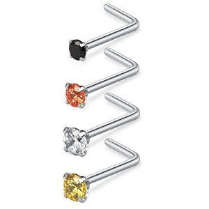 Vcmart 20G Surgical Steel Mix Color Diamond CZ Nose Stud Rings L Shaped Nose Piercing Jewelry 1.5mm 2mm 2.5mm