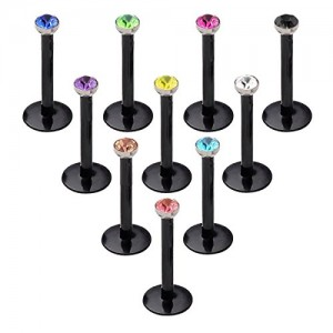 Vcmart 6-10pcs 16G Clear UV Flexible Acrylic 2.5mm Mix Color CZ Labret Monroe Lip Ring Tragus Helix Cartilage Earring Stud Barbell Piercing Jewelry 6mm 8mm 10mm