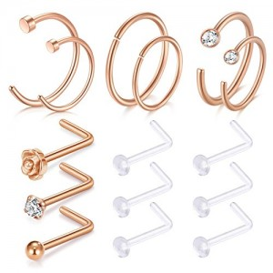 Vcmart Rose Gold Nose Hoops-20G Hoop Nose Rings 8mm 10mm Rose Flower Ball CZ Nose Stud Piercings for Men Women