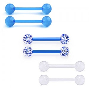 Vcmart Nipple Rings Retainers Tongue Ring Barbells Flexible Acrylic Piercing Bars Jewelry 14G 6PCS 5/8in