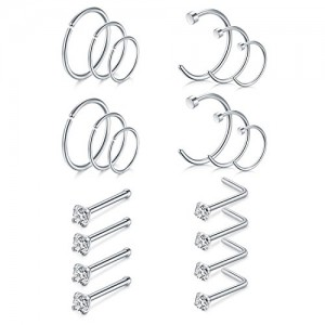 Vcmart 18G 20G Stainless Steel Nose Rings Hoop Bone L Shape Nose Rings Studs Screw Tragus Helix Cartilage Earrings Hoop Piercing