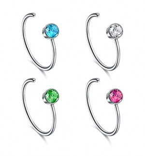 Vcmart Faux Nose Ring Set, 18G 20G Fake Nose Hoop Rings Heart Ball Decal Ring Jewelry Set for Nose