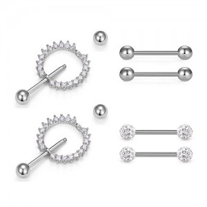 Vcmart Nipplerings 316L Stainless Steel Nipple Rings Dangle Women Nipple Piercing bar Nipple Shield Bar Ring Body Piercing Jewelry