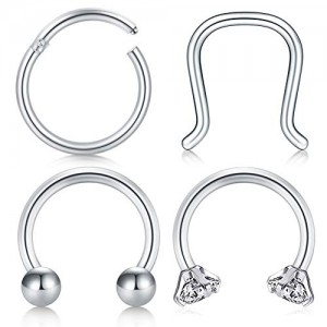 Vcmart 16G Surgical Steel Horseshoe Nose Rings Hoop Daith Helix Cartilage Tragus Earrings Hoop Piercing Clicker Septum Rings Piercing Jewelry