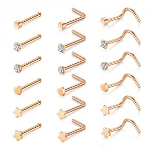 Vcmart 18pcs 20G Nose Rings Studs Nose Screw L Shape Bone Pin Nose Stud Surgical Steel Nose Piercing