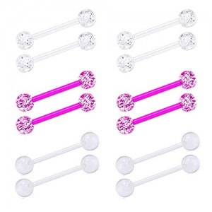 Vcmart 14G Flexible Acrylic Tongue Rings Straight Nipple Piercing Retainer Women Clear Nipplerings Barbell 12mm 14mm 16mm 19mm