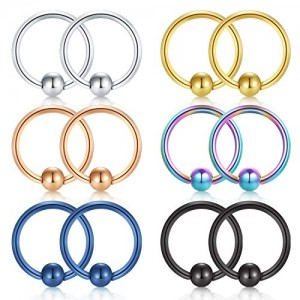 Vcmart 22G 8mm 10mm Nose Hoop Lip Eyebrow Tongue Helix Earrings Tragus Cartilage Septum Piercing Ring