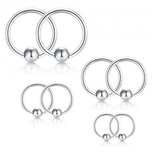Vcmart 18G Surgical Steel Nose Hoop Septum Earring Eyebrow Tongue Lip Nipple Helix Tragus Piercing Rings 6mm 8mm 10mm 12mm