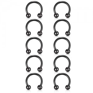 Vcmart 16G 10Pcs Surgical Steel Nose Septum Horseshoe Hoop Earring Eyebrow Tragus Lip Piercing Ring 10mm