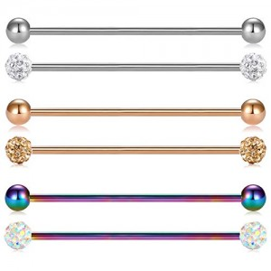 Vcmart 14G 6pcs 38mm Stainless Steel Industrial Barbell Ear Cartilage Helix Conch Piercing Bar 1 1/2 Inch