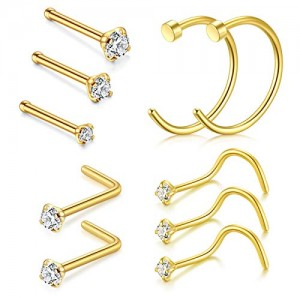 Vcmart Nose Rings Hoop, 20G 10mm Nose Rings Studs Piercings Hoop Jewelry Stainless Steel 1.5mm 2mm 2.5mm