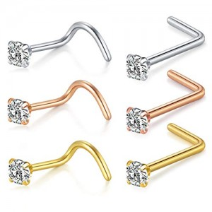 Vcmart Nose Rings Studs, 18G Stainless Steel Nose Piercings 1.5mm 2mm 2.5mm L Shaped Nose Ring Nose Screw