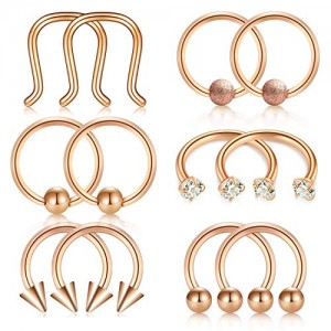 Vcmart Nose Septum Jewelry Horseshoe Circular Barbell Lip Hoop Ring Helix Cartilage Piercing Tragus Earring 316L Surgical Steel 16G 5/16'(8mm)