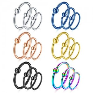 Vcmart 18pcs 16G Attached Captive Bead Nose Rings Hoop Septum Lip Eyebrow Rings Piercing Helix Tragus Cartilage Earring Hoop Tongue Nipple Belly Piercing Ring 8mm 10mm 12mm