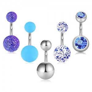 Vcmart 5 Pcs 6mm Short Belly Button Rings Stainless Steel Petite Navel Rings 5 Style for Women Girls 14G Body Piercing