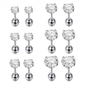 Vcmart 6-8 Pairs 18G Stainless Steel Ear Stud Piercing Tragus Barbell Studs Earrings Colorful Round Cubic Zirconia Inlaid