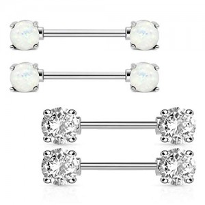 Vcmart 14G Nipple Rings Barbells Stainless Steel with CZ Crystal Opal Body Piercing Jewelry 5/8in Length