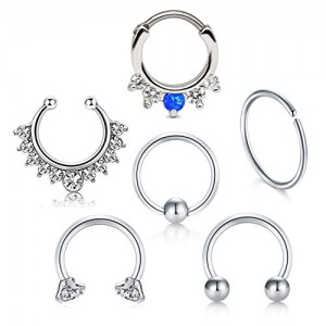 Vcmart 16G 316L Stainless Steel Septum Hoop Nose Ring 10mm 12mm Horseshoe Rings Cartilage Clicker Piercing Jewelry