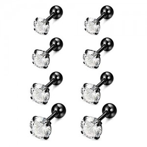 Vcmart 4 Pairs 16G Stainless Steel Ear Stud Piercing Barbell Studs Earrings Round Cubic Zirconia Inlaid 6mm Bar 3/4/5/6mm CZ