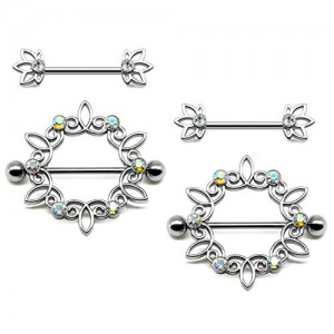 Vcmart Nipple Rings- 2 Pairs 14G 316L Stainless Steel Nipple Shield Piercing Barbell Bar CZ Flower Women Body Piercing