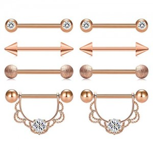 Vcmart 4 Pairs 14G 316L Stainless Steel Nipple Rings Nipple Piercing Barball Bar CZ Women Body Piercing 4 Styles