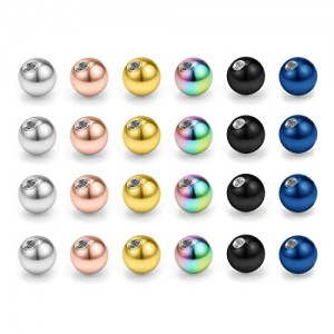 Vcmart 20-24pcs 16G 3mm Replacement Balls Body Jewelry Piercing Barbell Parts 316L Surgical Steel Balls