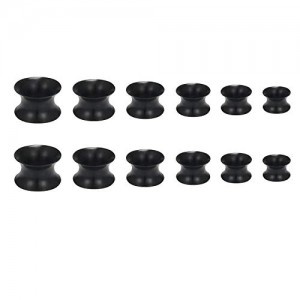 Vcmart Silicone Tunnels Ear Gauges Tunnels Plugs Silicone Ear Skin Flexible Flesh Black White Tunnel Expander Gauge Stretcher Piercing 2G-16mm