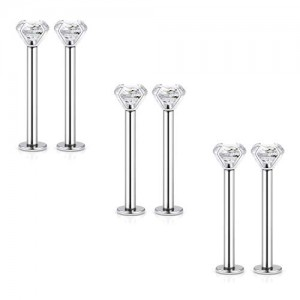 Vcmart 6pcs 16G Stainless Steel Labret Dimple Cheek Tongue Rings Barbell Body Piercing Jewelry 4mm Clear Cubic Zirconia Inlaid 14mm-19mm Bar Length