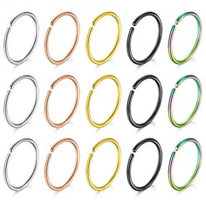 Vcmart Fake Nose Hoop Ring, 15pcs 20G 316L Stainless Steel Fake Nose Rings Tragus Cartilage Helix Piercing Earring Hoops Septum Lip Ring for Women Men 6mm 8mm 10mm 12mm
